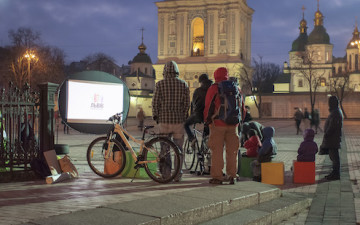 Open Air Cinema Foundation Ukraine helps spread bicycle culture in the streets of Kyiv